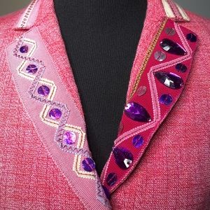 Moschino Jackets & Coats - Moschino Pink Gemstone Grosgrain Belted Blazer